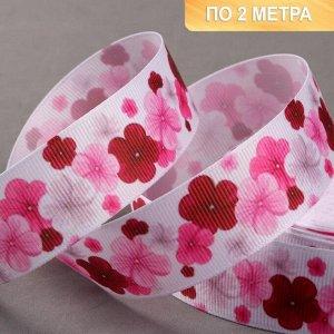 Лента репсовая «Цветы», 25 мм, 2 ± 0,1 м, цвет розовый