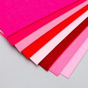 "Фетр жесткий 2 мм ""Палитра розового"" набор 8 листов формат А4"