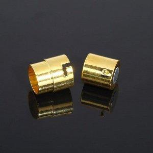 Замок-концевик магнитный с фиксатором 18*12мм (внутр. 10мм), цвет золото