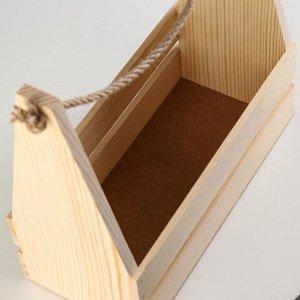 Кашпо деревянное 30?14?30 см, двухреечное прямое, ручка верёвка
