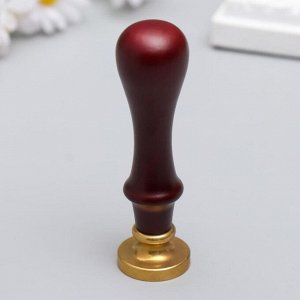 """Печать для сургуча с деревянной ручкой """"Корона с буквой F"""" 9х2,5х2,5 см"""