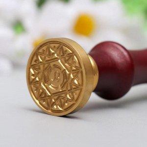 """Печать для сургуча с деревянной ручкой """"Знак зодиака - Лев"""" 9х2,5х2,5 см"""