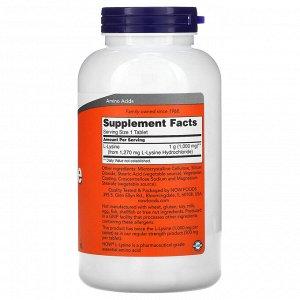 Now Foods, L-лизин, 1000 мг, 250 таблеток