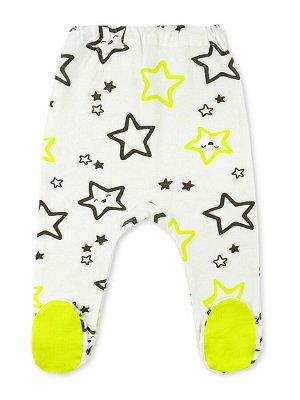 Ползунки Цвет: Белый, Салатовый; Рисунок: Звёзды; Материал: Хлопок 100%; ТИП ТКАНИ: Интерлок Прелестные ползунки для вашего малыша. Красивый набивной рисунок по всей модели, яркие подошвы. У маленьких