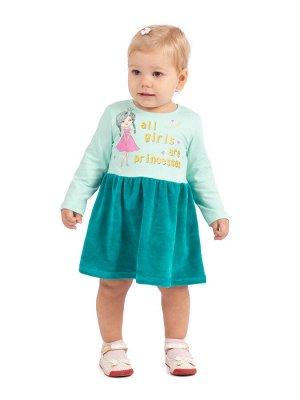 Платье Л2336-5705, изумруд+мятный