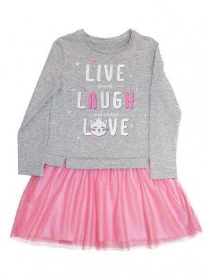 Платье для девочки Л2344-5732, розовое кружево+средне-серый меланж