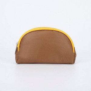 Косметичка простая, отдел на молнии, цвет коричневый