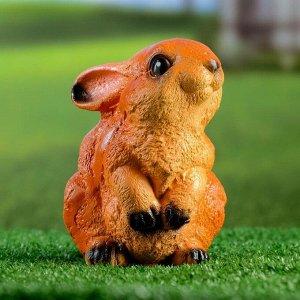 """Садовая фигура """"Заяц веселый"""" рыжий, 14х10х16см"""