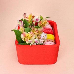 """Пенобокс 16?16?10 см кашпо для цветов и подарков """"Квадрат"""", красный"""