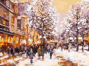 Набор для творчества Белоснежка картина по номерам на холсте Зимний вечер на бульваре 30 на 40 см2