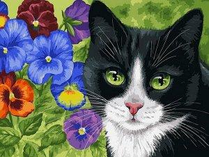Набор для творчества Белоснежка картина по номерам на холсте Кот в анютиных глазках 30 на 40 см3
