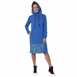 Платье из футера с лайкрой ENJOY принт зел неон ФП1357П2 синий
