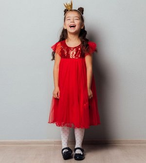 Платье для девочки, кулирка+сетка+пайетки
