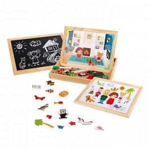 Игровой набор Mapacha Бизи-чемоданчик Дружная семья доска для рисования, меловая доска, фигурки на магнитах, 2 игровых фона, инструкция с готовыми игр4