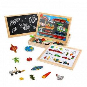 Игровой набор Mapacha Бизи-чемоданчик Транспорт доска для рисования, меловая доска, фигурки на магнитах, 2 игровых фона, инструкция с готовыми играми14