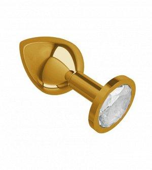 Средняя золотая анальная втулка с прозрачным кристаллом Джага