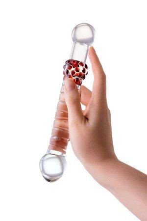 Двусторонний стимулятор с кольцами и шишечками Sexus Glass