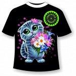 Подростковая футболка Котенок с цветами 1141