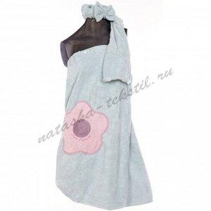 К. Сауна набор женская +полотенце+повязка Лето3 микрофибра