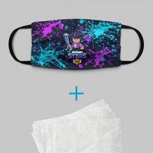 Детская маска (+5 фильтров) «BRAWL STARS BIBI.»