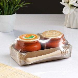 Набор для меда №2 (0,25л + ложка для мёда), терракота
