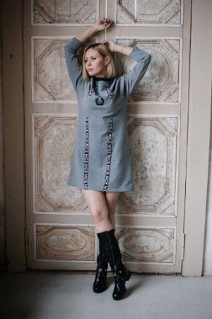 """Платье П 787 """"Ж"""" (Меланж серый)"""