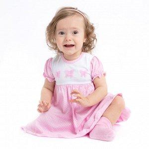 Платье Состав: 100% хлопок Цвет: светло-розовый, белый  Платье - боди с завышенной талией из натурального трикотажа. Для удобства снимания и одевания, а также для быстрой смены подгузника, на модели р