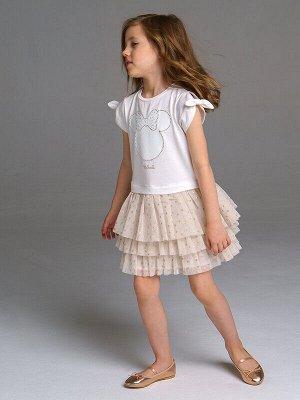 Платье Состав: 95% хлопок, 5% эластан, отделка- 100% полиэстер;  Цвет: белый, светло-коричневый Нарядное платье с принтом Disney  высокое содержание хлопка 95%   благодаря наличию эластана в составе