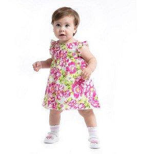 Комплект Состав: 100% хлопок;  Цвет: белый, розовый, светло-зеленый Комплект выполнен из натурального хлопка. Платье из яркой набивной ткани, на подкладке, с завышенной талией. Пройма рукавов декориро