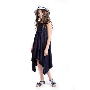 Платье Состав: 95% хлопок, 5% эластан, отделка- 80% хлопок, 20% полиамид;  Цвет: тёмно-синий Платье из натурального трикотажа асимметричного кроя с завышенной талией. Модель на широких бретелях. Поло