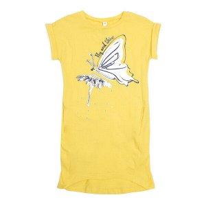 Платье Состав: 95% хлопок, 5% эластан  Цвет: жёлтый  Год: 2020 Платье с заниженной спинкой. Рукава оформлены отворотами. Модель дополнена встрочными карманами. В качестве декора использованы аппликаци