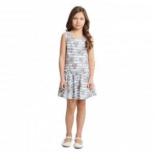 Платье Состав: 95% хлопок, 5% эластан Цвет: белый, светло-серый  Платье, с заниженной талией, на резинке, выполнено из натурального материала. Модель на широких бретелях, дополнено оборкой.