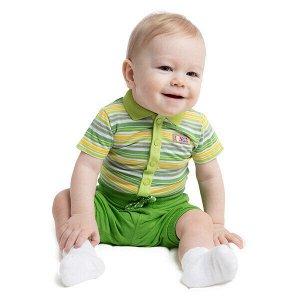 Боди Состав: 100% хлопок  Цвет: белый, зеленый, светло-серый, жёлтый  Год: 2020 Боди выполнен из натурального хлопка. Верхняя часть выполнена в стиле футболки - поло. Модель с двумя рядами кнопок в па