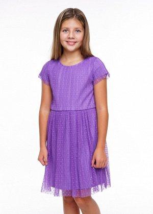 Платье Состав: 100% ПЭ Цвет: св. фиолетовый  Прекрасное платье для особого случая и на каждый день. Верхний слой из трендовой плессированной сетки в горох. Подклад- хлопок. Линия талии отрезная, со сб
