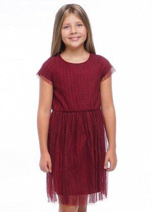 Платье Состав: 100% ПЭ Цвет: т. малиновый  Прекрасное платье для особого случая и на каждый день. Верхний слой из трендовой плессированной сетки в горох. Подклад- хлопок. Линия талии отрезная, со сбор