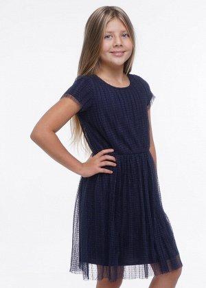 Платье Состав: 100% ПЭ Цвет: т. синий  Прекрасное платье для особого случая и на каждый день. Верхний слой из трендовой плессированной сетки в горох. Подклад- хлопок. Линия талии отрезная, со сборкой