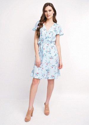 Платье Состав: 100%Вис Сезон: Весна, Лето Цвет: голубой/коралловый  Платье на набивном штапеле. Верхняя часть платья на запах, нижняя часть платья слегка расклешённая книзу с притачным воланом. Съёмны
