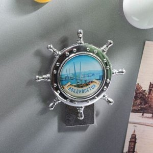 Магнит в форме штурвала «Владивосток. Зoлотой мост»