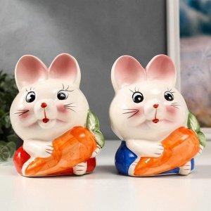 "Копилка керамика ""Зайчик с морковкой"" МИКС 16,5х12,5х10 см"