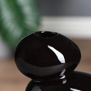 """Ваза настольная """"Сбалансированные камни"""". чёрная. 20 см. керамика"""
