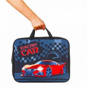 """Папка на молнии с ручками BRAUBERG, А4, 1 отделение, ткань, ширина 80 мм, """"Racing Car"""", 229403"""