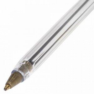 """Ручка шариковая STAFF """"Basic BP-01"""", письмо 750 метров, СИНЯЯ, длина корпуса 14 см, линия письма 0,5 мм, 141672"""