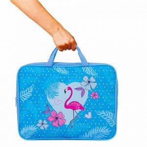 """Папка на молнии с ручками BRAUBERG, А4, 1 отделение, ткань, ширина 80 мм, """"Flamingo"""", 229399"""
