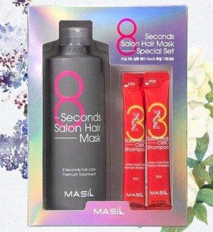 Маска для волос салонный эффект за 8 секунд и 2 пробника увлажняющего шампуня