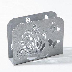 Салфетница «Цветы», цвет серый
