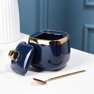 Набор сервировочный «Богема», 2 предмета: чайник 280 мл, сахарница с ложкой 240 мл, цвет синий