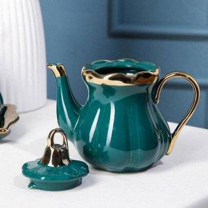 Набор сервировочный «Изумруд», 2 предмета: чайник 280 мл, сахарница с ложкой 240 мл