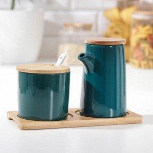 Набор сервировочный «Эстет», 2 предмета: молочник, сахарница с ложкой 200 мл, цвет зёленый