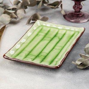 Блюдо прямоугольное «Таллула», 20?13,5?2,5 см, цвет зелёный