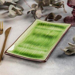 Блюдо прямоугольное «Таллула», 21,5?12?2 см, цвет зелёный